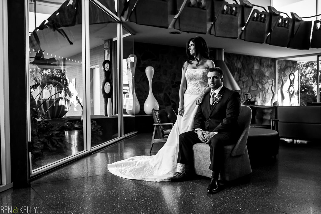 Bride and Groom Portraits at the Valley Ho Hotel in SCottsdale