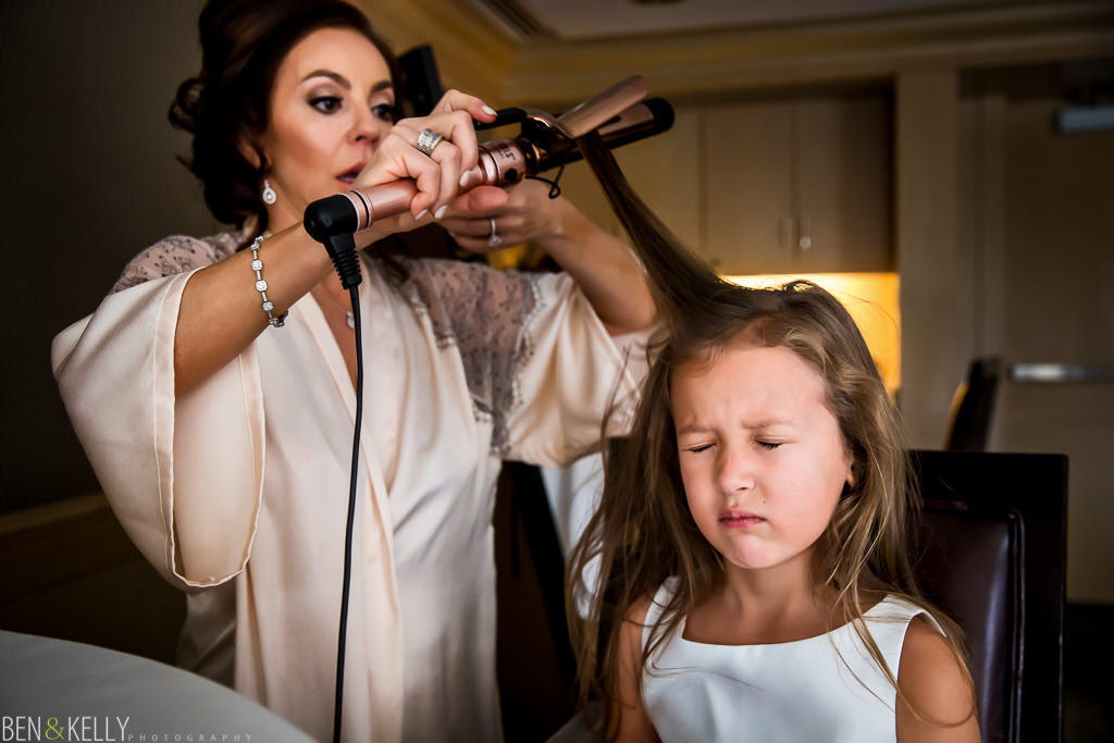 flower girl getting ready at the phoenician - benandkellyphotography