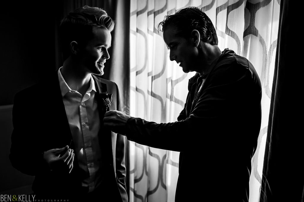 groom and son at the phoenician - benandkellyphotography