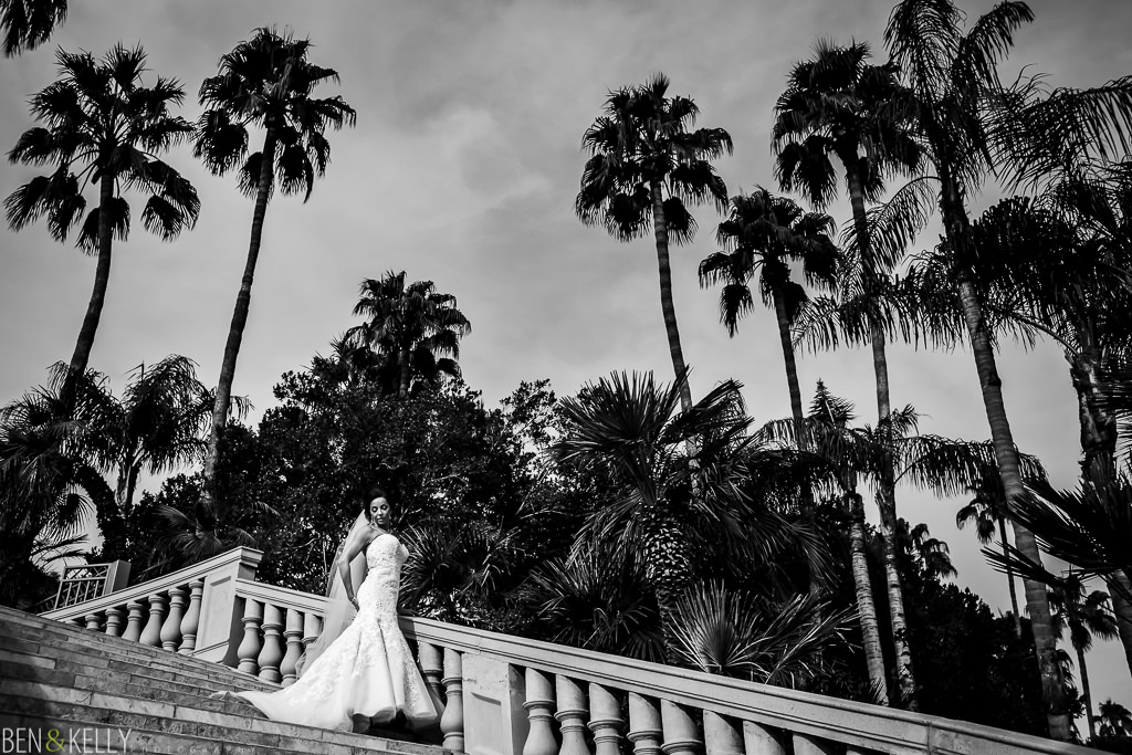 bridal portrait on the grand staircase at the phoenician - orchid falls - benandkellyphotography