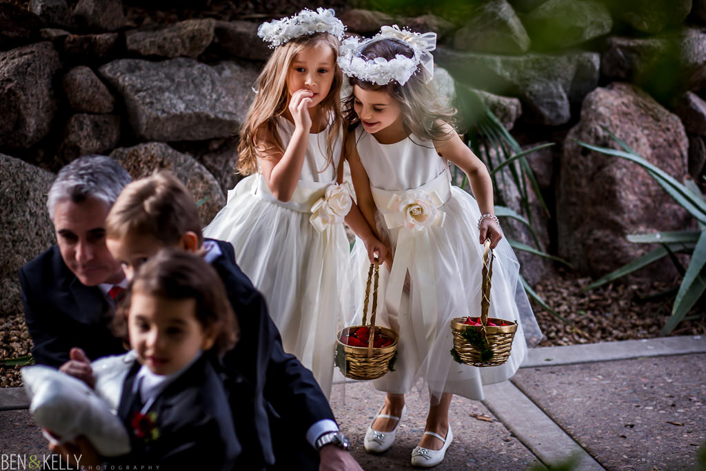 flower girls at the ceremony at the phoenician - wedding at the phoenician - benandkellyphotography