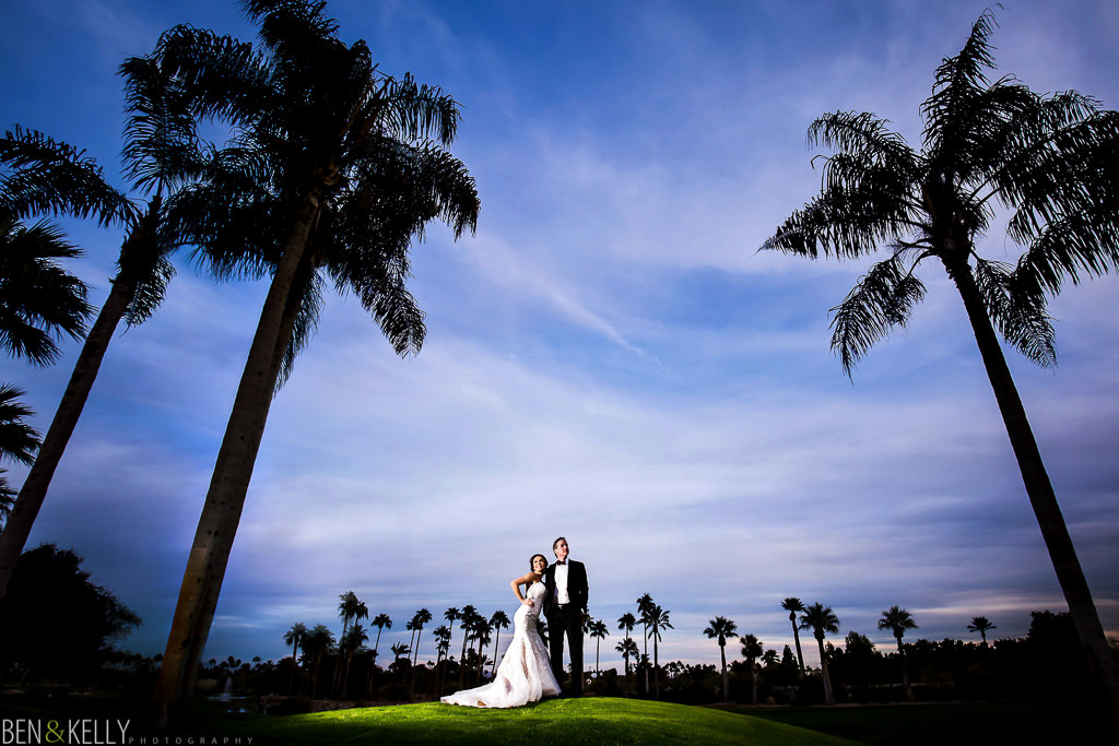 palm tree wedding portrait at the phoenician - wedding at the phoenician - benandkellyphotography