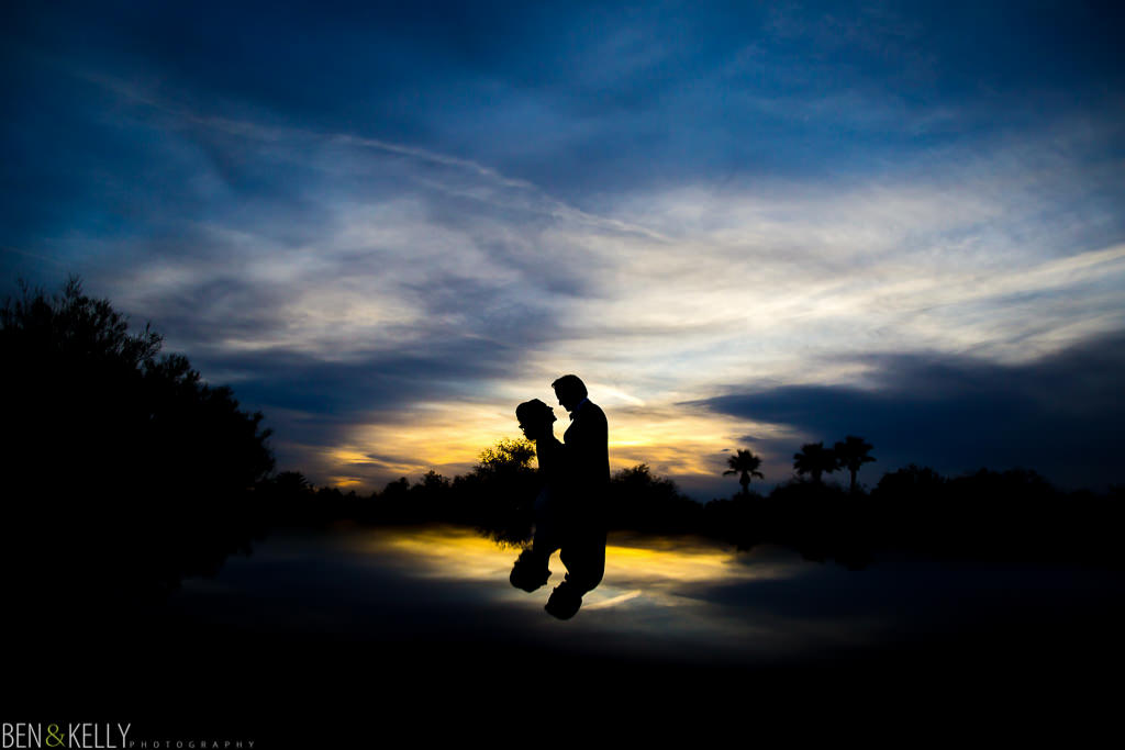 sunset silhouette at the phoenician - wedding at the phoenician - benandkellyphotography