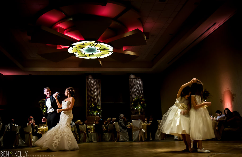 first dance with flower girls at the phoenician - wedding reception at the phoenician - benandkellyphotography