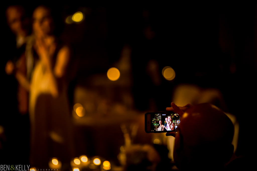 iPhone toast at the phoenician - wedding reception at the phoenician - benandkellyphotography