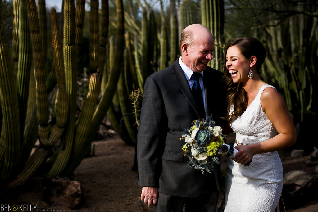 happy bride and father - Ben and Kelly Photography