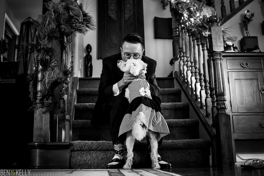 groom and dog portrait - scottsdale - ben and kelly photography