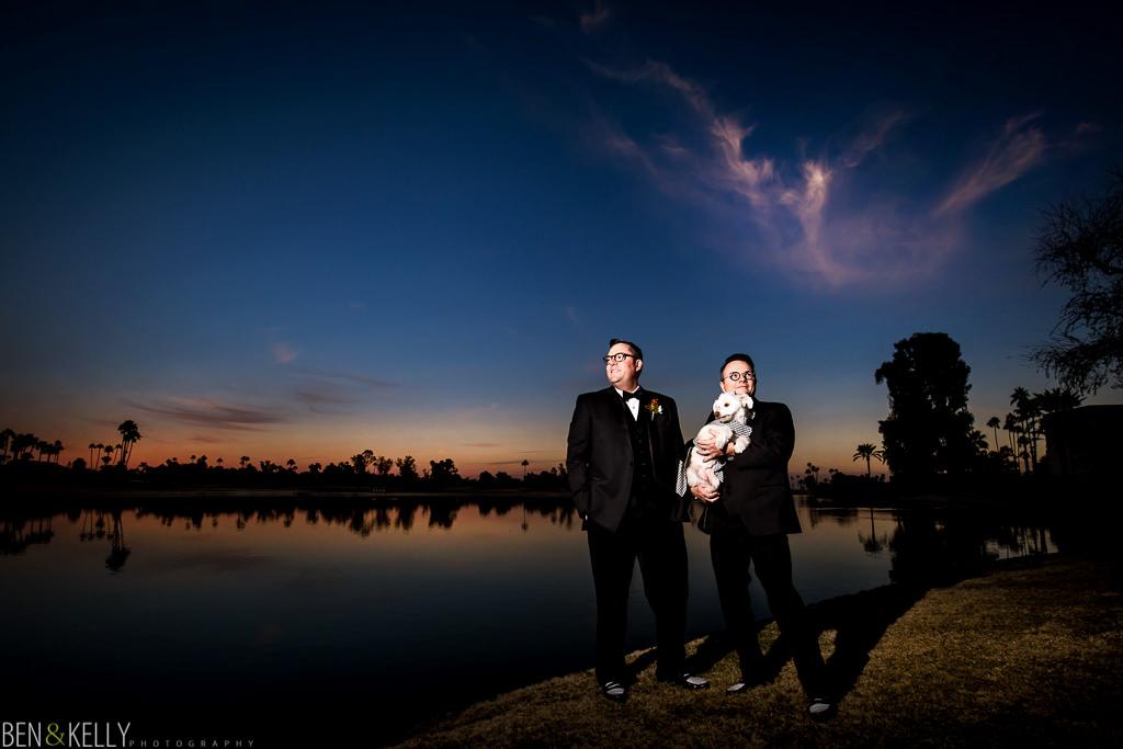 sunset portrait - gay wedding portrait - mccormick lake - ben and kelly photography