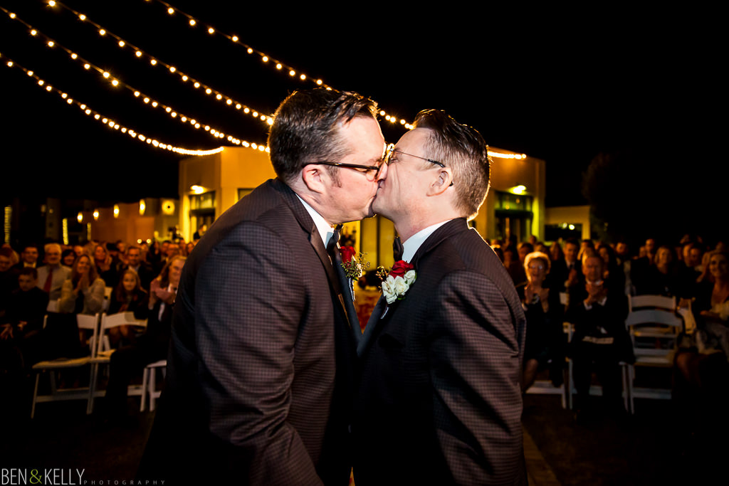 grooms first kiss - gay first kiss - scottsdale - ben and kelly photography