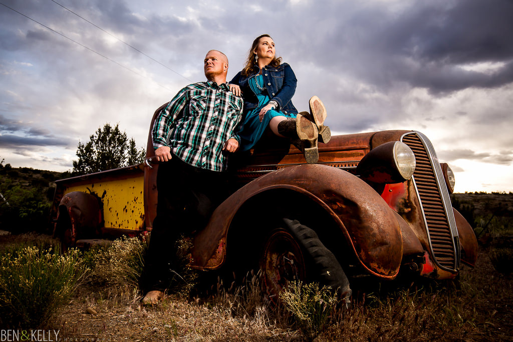 engagement photos on old truck - Ben and Kelly Photography