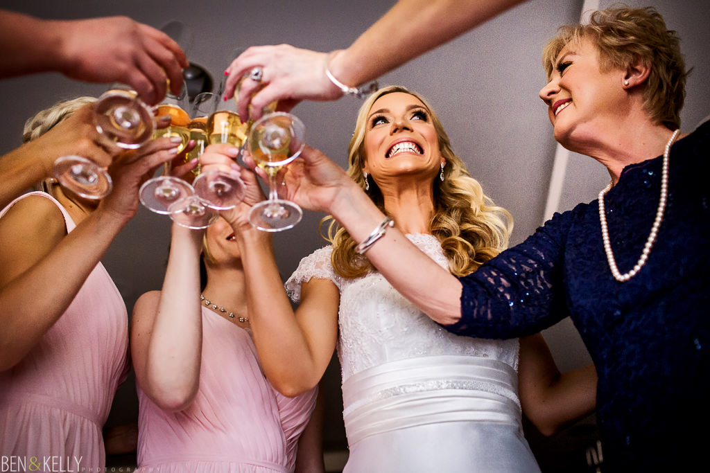 bridal party toast - The Phoenician - Ben and Kelly Photography