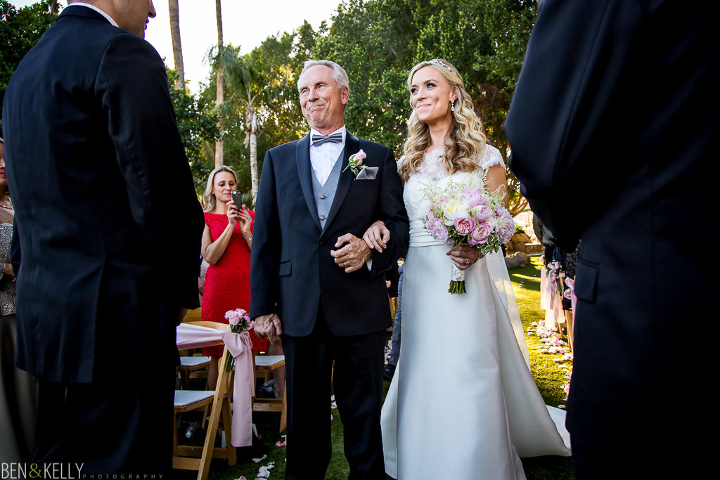 Walking down the aisle - The Phoenician Weddings - Ben and Kelly Photography