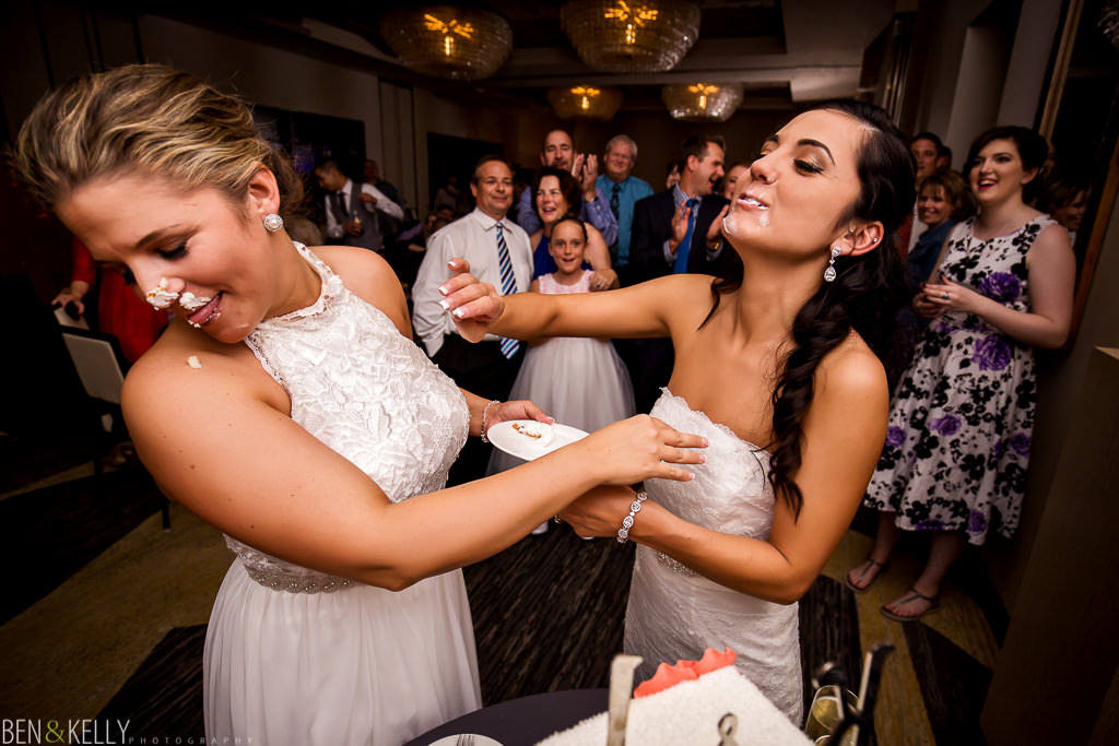 wedding at Hotel Palomar - cake smashing - Ben and Kelly Photography