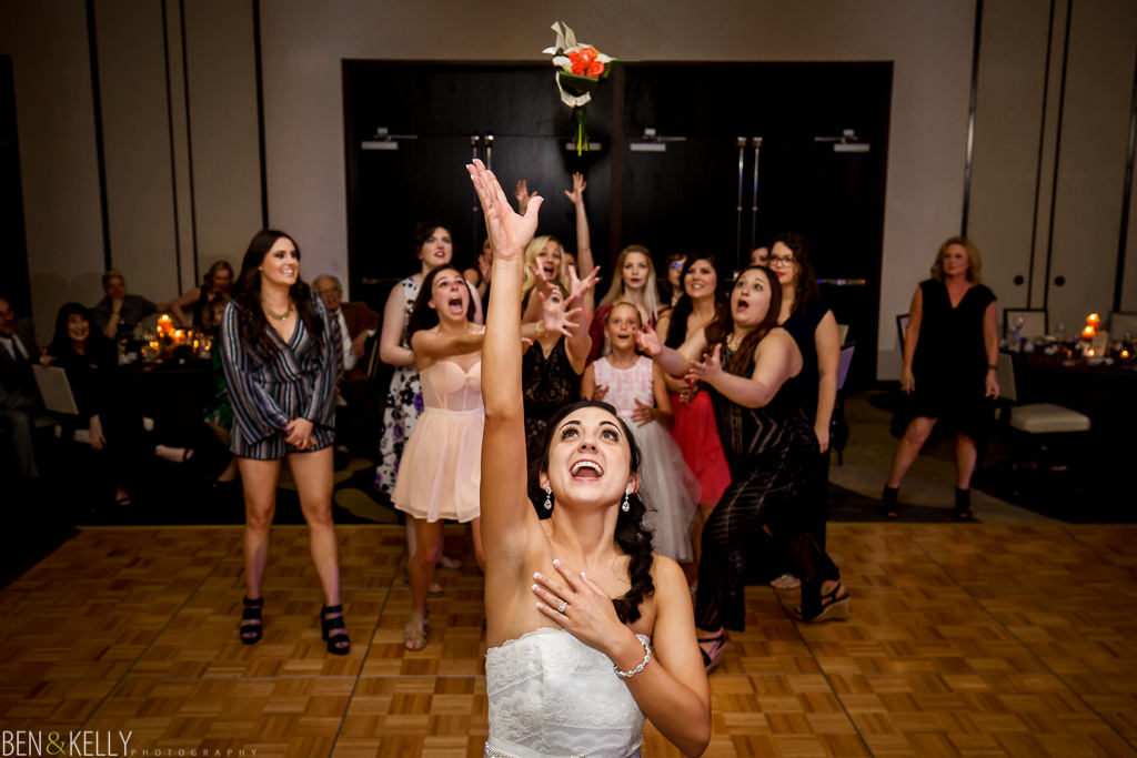 bouquet toss at Hotel Palomar - Ben and Kelly Photography