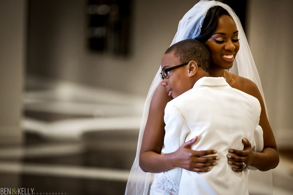 Bride and son at Chateau Luxe - Ben and Kelly Photography