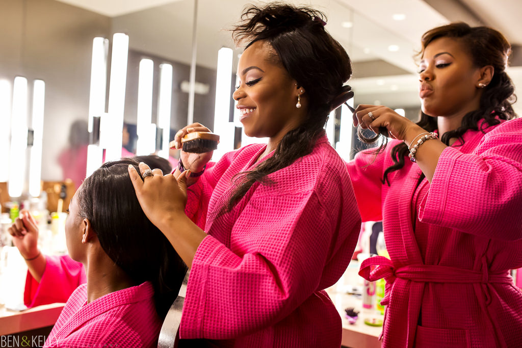 Bridesmaids getting ready - Chateau Luxe - Ben and Kelly Photography