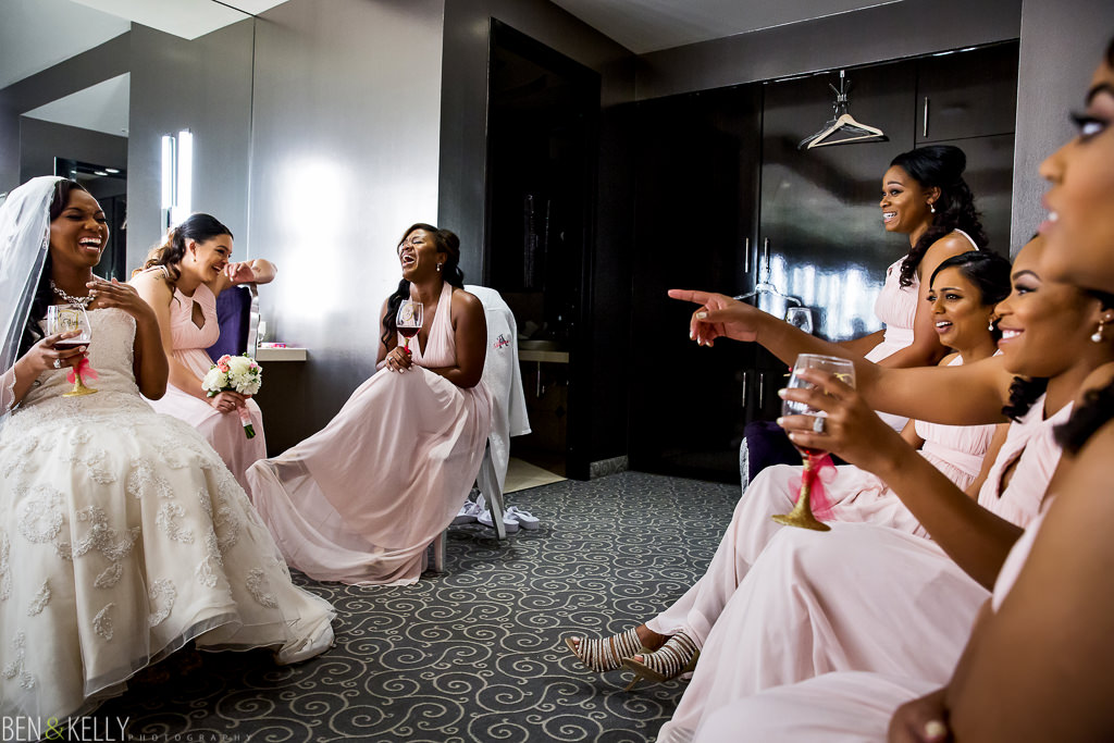 happy bridesmaids - chateau luxe - Ben and Kelly Photography